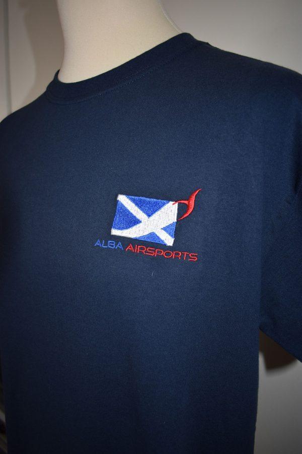 merchandise - Navy round neck t-shirt with Alba Airsports logo.