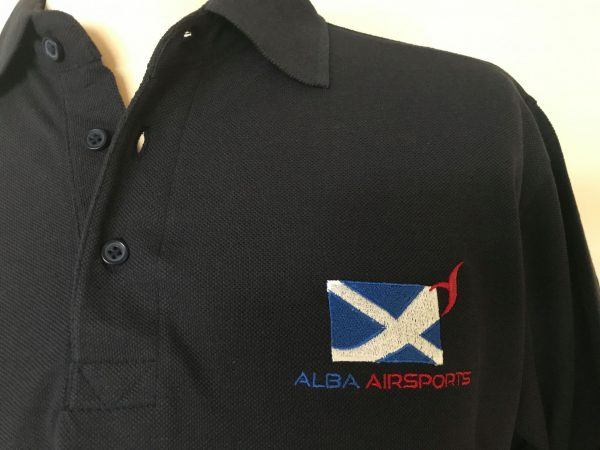Merchandise - Navy polo shirt with Alba Airsports logo